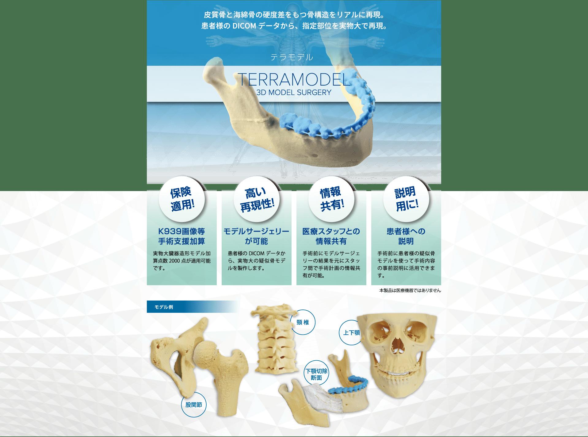 皮質骨と海綿骨の硬度差をもつ骨構造をリアルに再現。患者様のDICOMデータから、指定部位を実物大で再現。